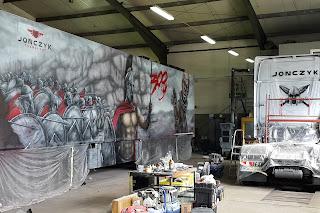 Malowanie samochodu ciężarowego areografem, malowanie tira na zamówienie, aribrush truck