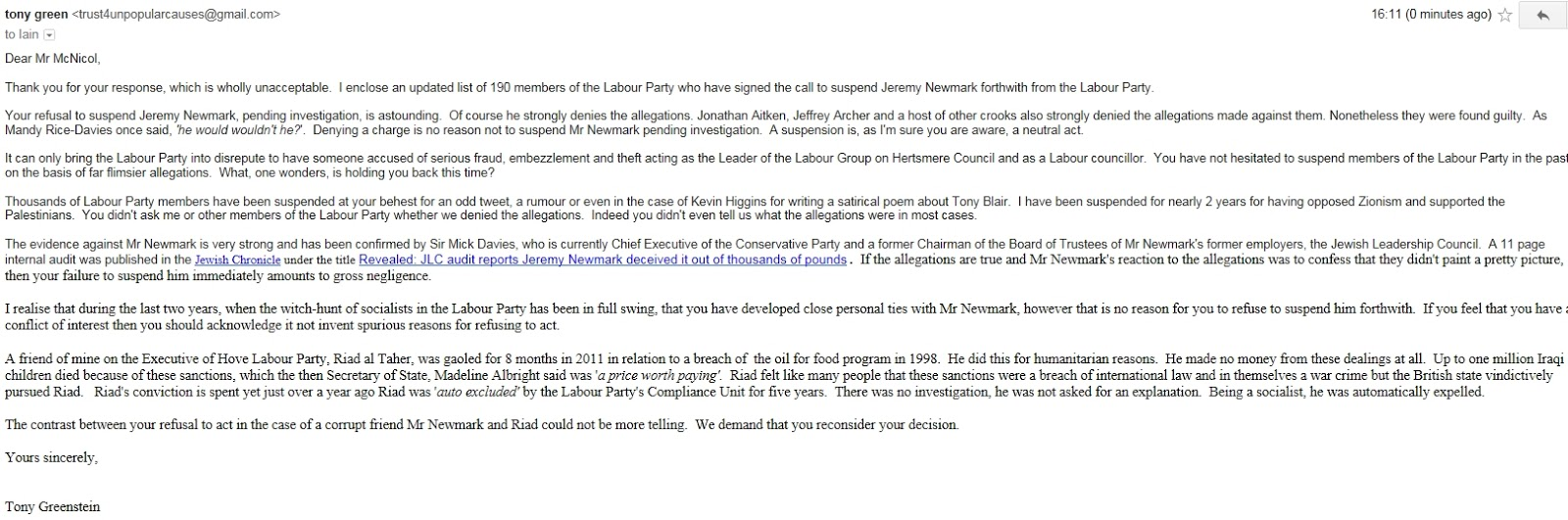 Tony Greenstein's Blog: BREAKING NEWS - Iain McNicol Refuses to