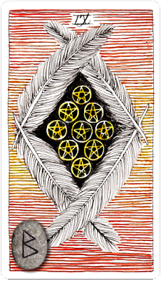 The Wild Unknown Tarot, Nine of Pentacles. Runes. Berkano