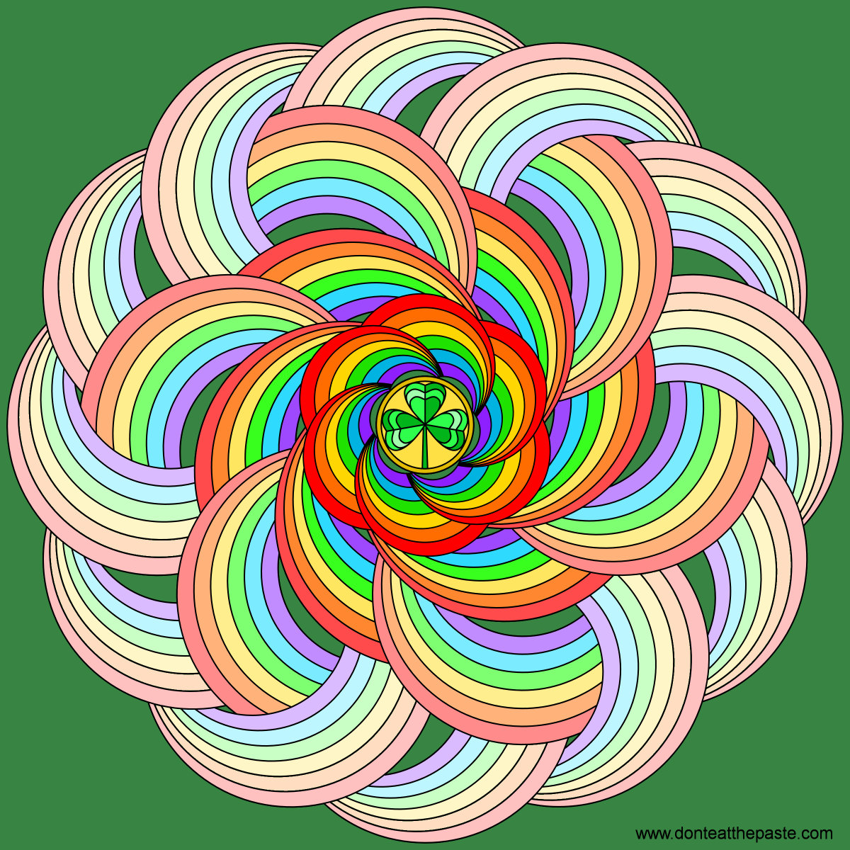 rainbow with a shamrock mandala- coloring version available