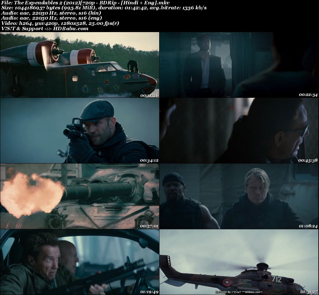 The Expendables 2 (2012) [720p - BDRip - [Hindi + Eng] Screenshot
