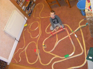 complicated wooden train track from tesco