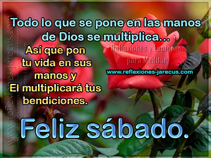 Todo lo que se pone en las manos de Dios se multiplica... Así que pon tu vida en sus manos y El multiplicará tus bendiciones.