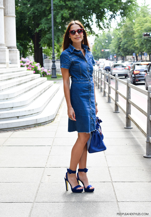How to wear denim shirt dress. Ana Kramarić, fit i stajliš