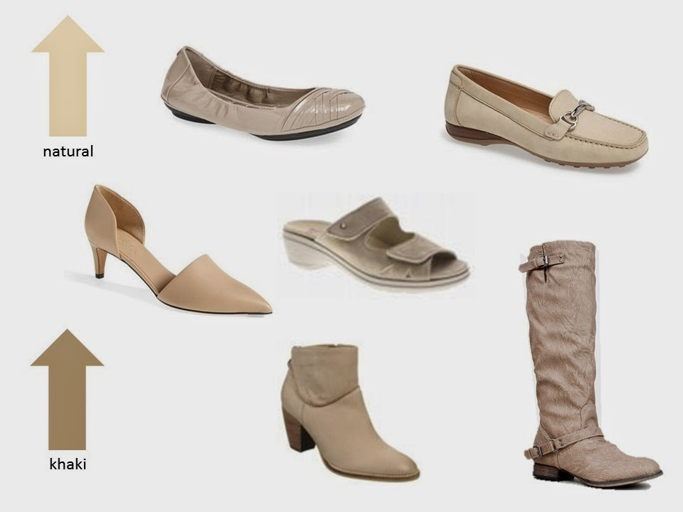 six classic shoe styles in shades of natural and khaki