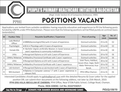 Peoples Primary Healthcare Initiative Sindh PPHI Jobs 2019