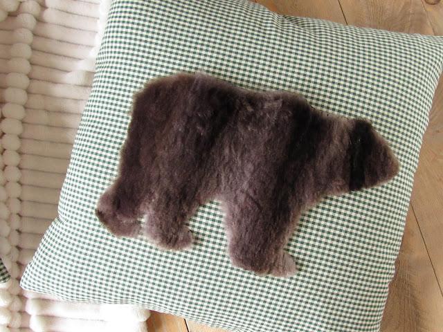 fur cushion cover grizzly bear