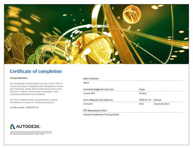 Marco Romero: Autodesk EAGLE Certificate