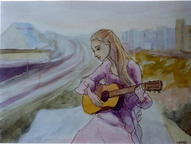 Cristina Alonso arte original acuarela mujer tocando la guitarra musica
