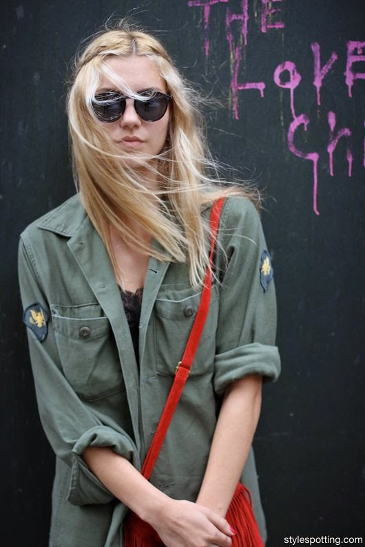 Wearing an Oversized Military Shirt with Pop of Red