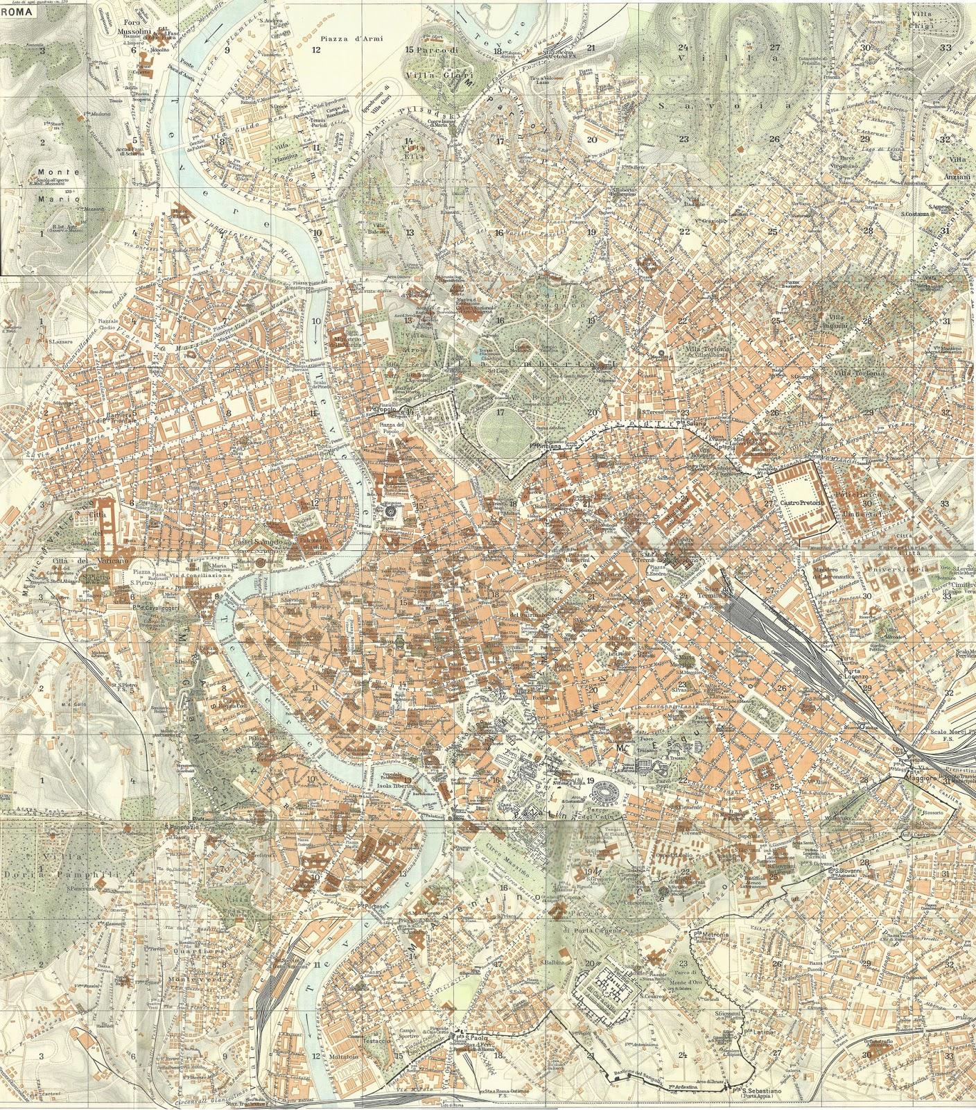 Cartina D Roma.Rerum Romanarum Mappa Di Roma Del Touring Club Italiano Del 1939