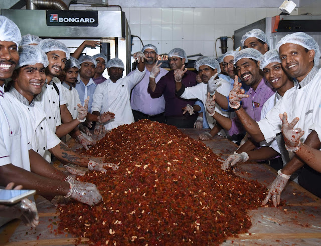 The French Loaf getting ready for the festive season: Mixes ingredients weighing 17,500 Kgs to create plum cake