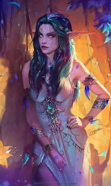 Тиранда Шелест Ветра: Ночная Эльфийка в цветах