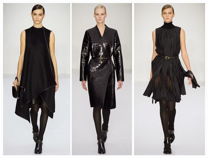 Black dresses with varying textures on the catwalk