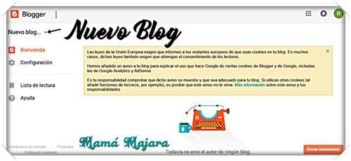 Inicio Blogger Primer Blog