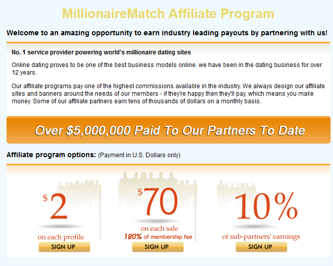 millionaire dating affiliate programs