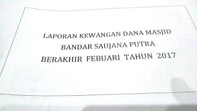 Laporan Kewangan Dana Masjid Bandar Saujana Putra Berakhir Februari Tahun 2017