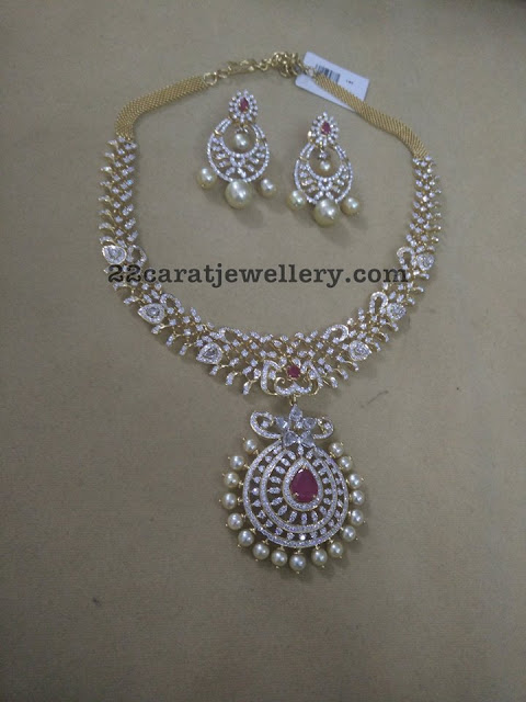 7 Lakhs Simple Diamond Set and Chandbali
