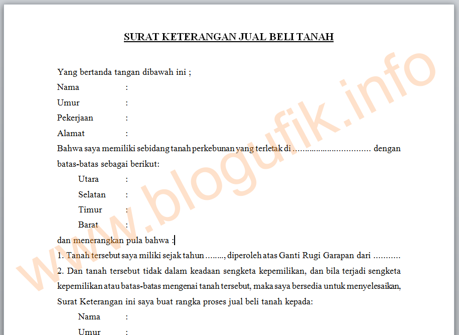 Contoh Surat Keterangan Jual Beli Tanah Blogufik Info