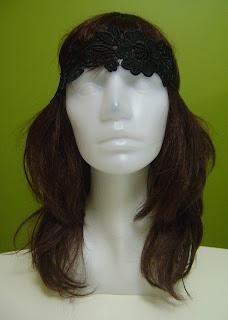 siyah güpür dantel saç bandı