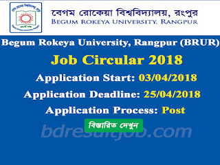 Begum Rokeya University, Rangpur (BRUR) Job Circular 2018