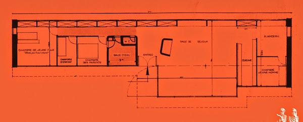 Nancy - Maison particulière de Jean Prouvé  Architetce: Jean Prouvé  Mobilier:  Ateliers Jean Prouvé, Charlotte Perriand.  Projet / Construction: 1952 - 1954