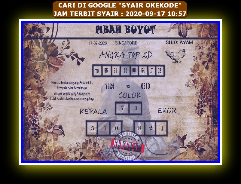 Kode syair Singapore Kamis 17 September 2020 94