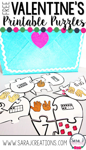 Free heart number sense puzzles are perfect for #valentinesday math centers. #kindergarten #sarajcreations #free