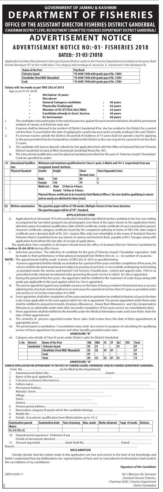 Department of Fisheries Ganderbal Recruitment 2018 for 15 Class IV Posts