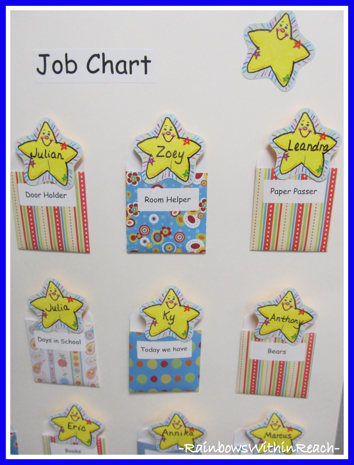 Photo of job chart in kindergarten with names on stars also helper charts name games drseussprojects rh drseussprojects spot