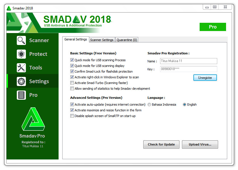 serial key smadav