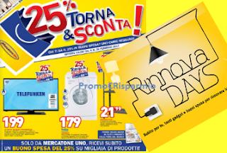 Logo Mercatone Uno : Torna&Sconta il 25% + gadget e buoni spesa con ''Rinnova Days''
