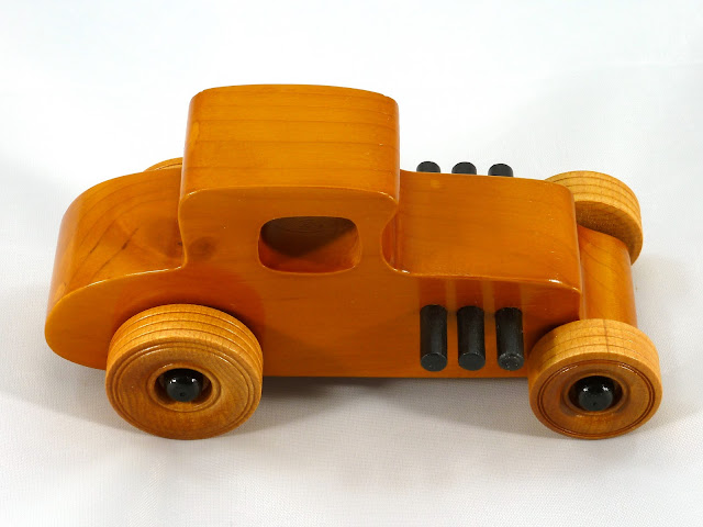 Right Side Top - Wooden Toy Car - Hot Rod Freaky Ford - 27 T Coupe - Pine - Amber Shellac - Black Hubs