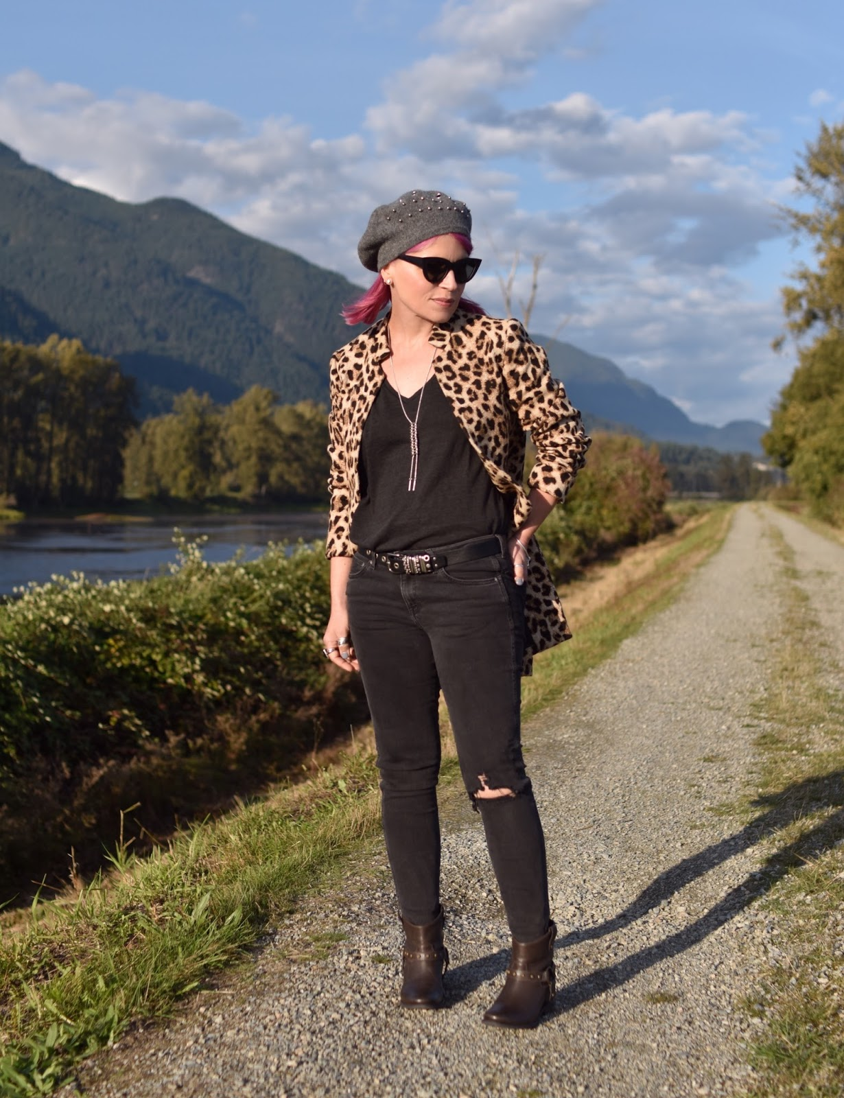 Knock, Knock:  black skinny jeans, leopard coat, hidden-wedge booties, and a beret