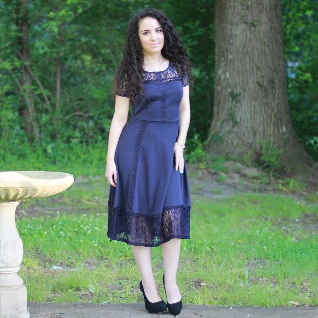Navy Blue Lace Sleeve Dress