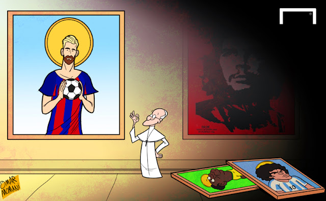 Pope Francis hails Messi cartoon