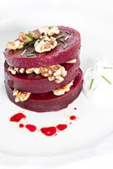 Left Bank Roasted Beet Salad w/ Warm Goat Cheese Dressing