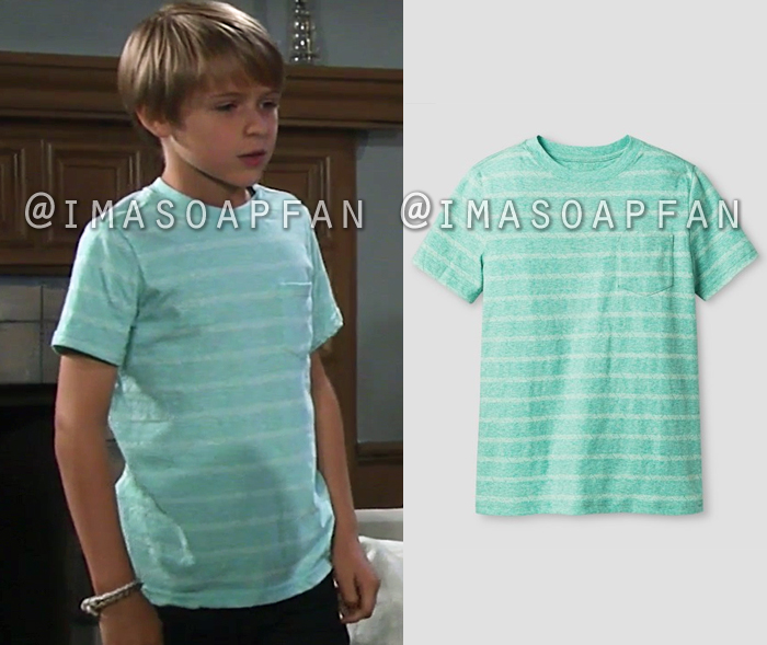 Jake Spencer, Hudson West, Striped Green Tee, General Hospital, GH