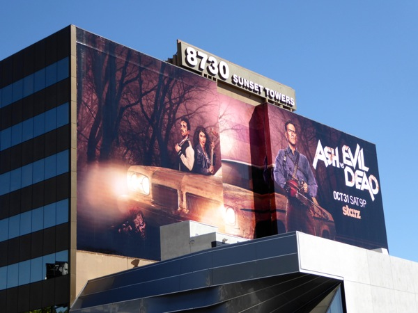 Giant Ash vs Evil Dead series billboard