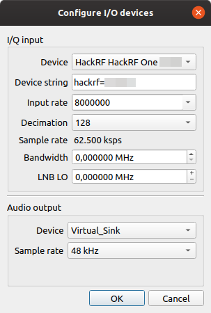 Configure hardware in Gqrx
