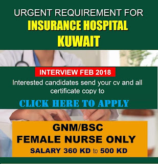 URGENT REQUIREMENT FOR NURSES IN KUWAIT INSURANCE HOSPITAL - APPLY NOW