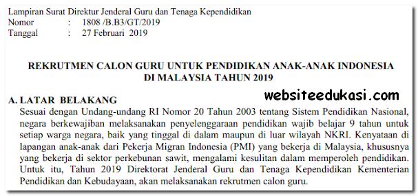 Rekrutmen Calon Guru untuk Pendidikan Anak-anak Indonesia di Malaysia Tahun 2019