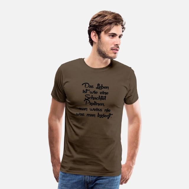 Männer Premium T-Shirt Edelbraun Das Leben ist wie eine Schachtel Pralinen