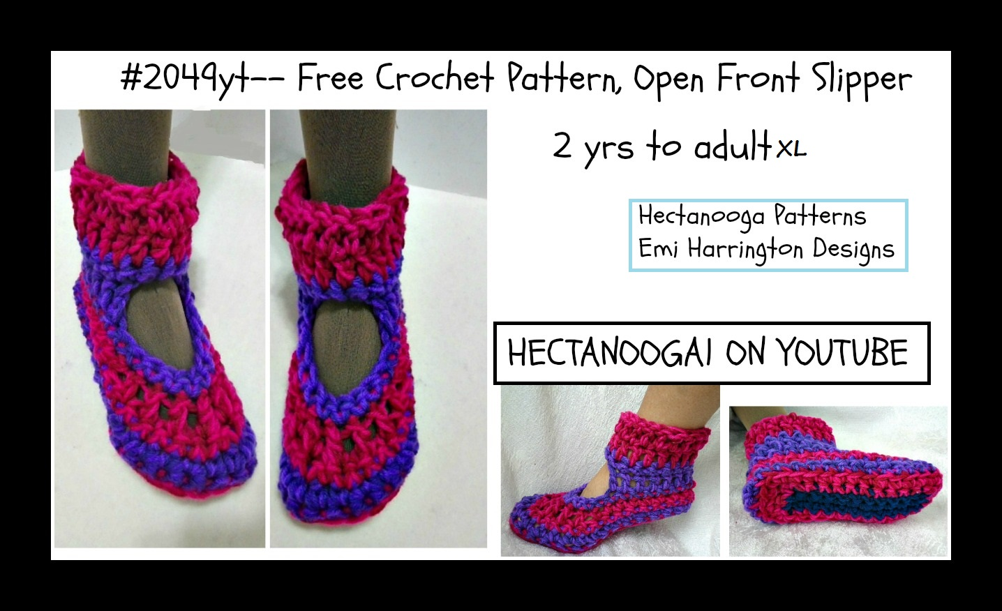 HECTANOOGA PATTERNS: FREE CROCHET PATTERN, Open Front Slipper, 2 yrs ...