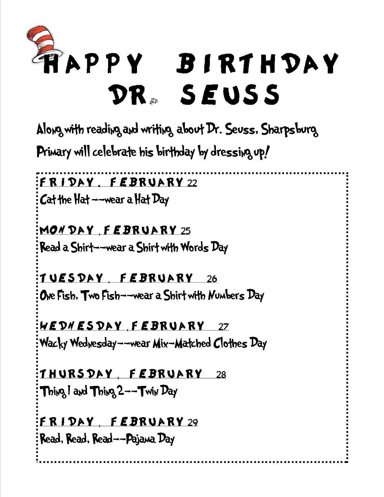 Mrs Niezgoda S All Stars Happy Birthday Dr Seuss