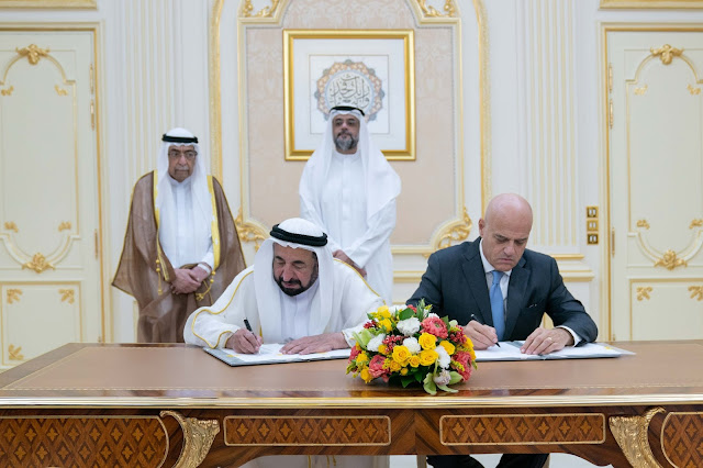 Image Attribute: His Highness Sheikh Dr Sultan bin Mohamed Al Qasimi, Supreme Council Member and Ruler of Sharjah  signing a long-term agreement with Eni's CEO Claudio Descalzi / Dated: January 13, 2019 / Source: Sharjah Government Media Bureau/ The Gulf Intelligence