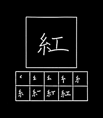 kanji crimson red