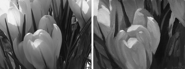 composing values study of yellow tulips Jan-22-2019-greyscale reference next to study