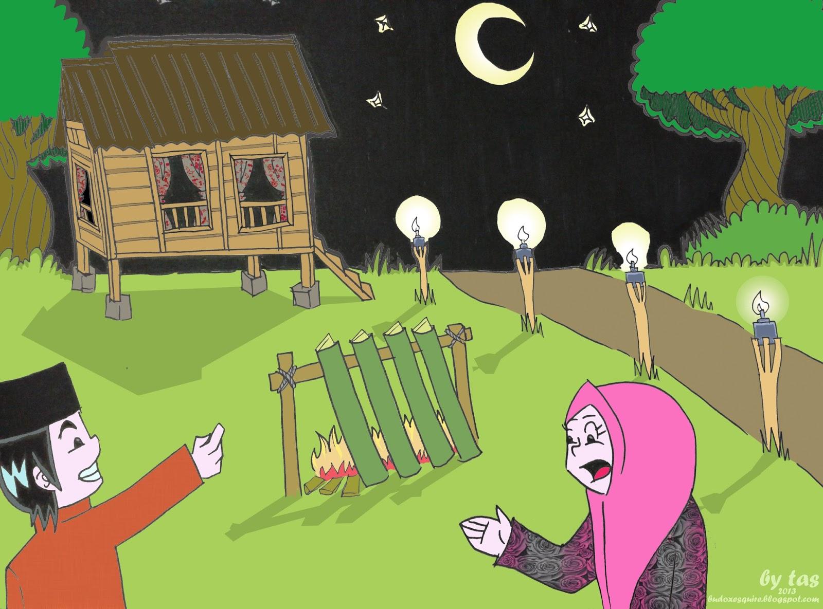 Beautiful Gambar Suasana Hari Raya Aidilfitri Kartun Bagipict