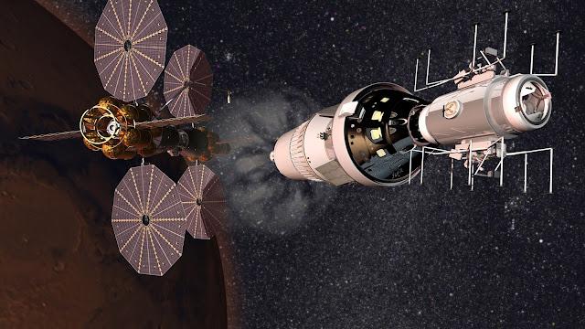 Phobos Deimos lander (excursion module) leaving Lockheed Martin Mars Base Camp